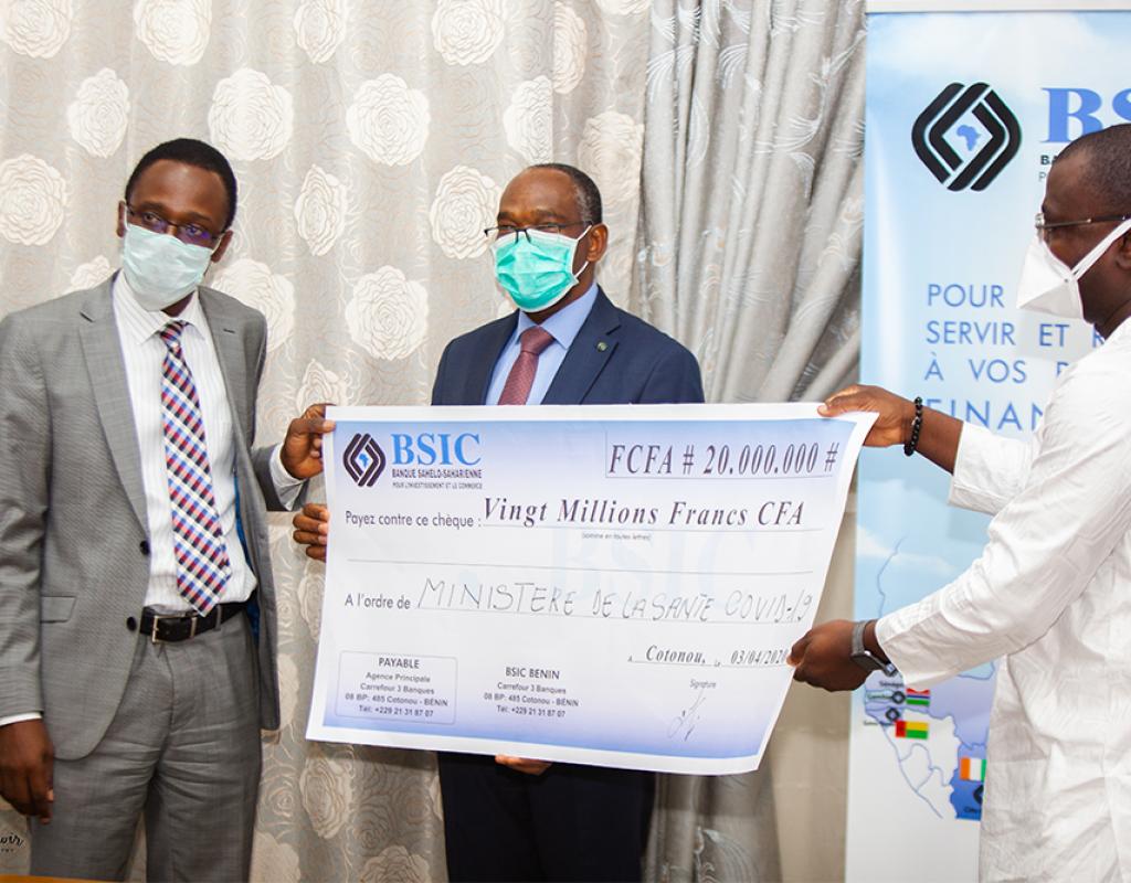 Coronavirus : la Bsic donne 20 millions et du matériel pour soutenir le gouvernement
