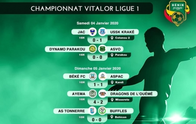 12ème journée Vitalor Ligue 1 : Ayema FC l'emporte face aux Dragons de l'Ouémé